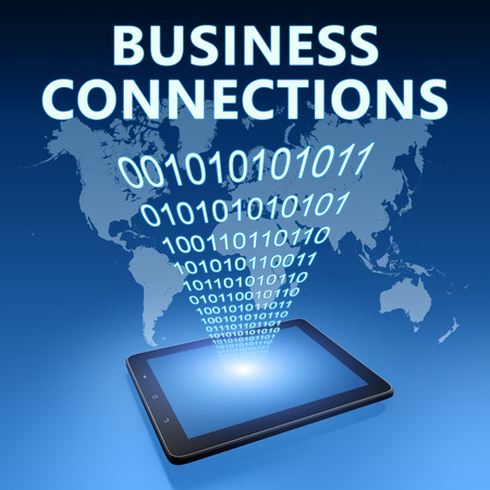 business connections: Business Connections illustration with tablet computer on blue background