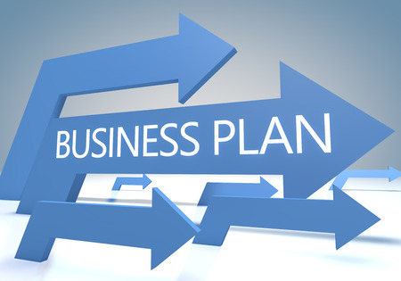 Business Plan 3d render concept with blue arrows on a bluegrey background. photo