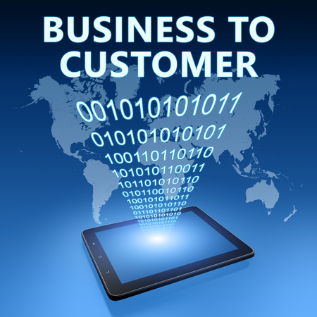 Business to Customer illustration with tablet computer on blue background illustration