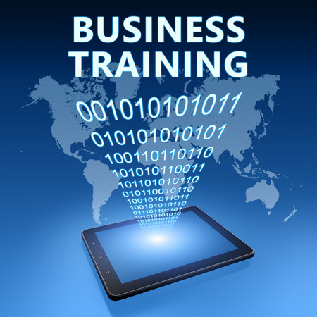 knowlage: Business Training illustration with tablet computer on blue background