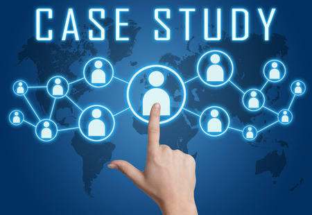Case Study concept with hand pressing social icons on blue world map background.