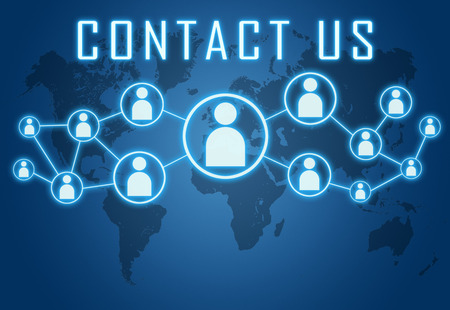 Contact us concept on blue background with world map and social icons.