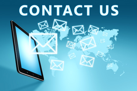 sent: Contact us illustration with tablet computer on blue background