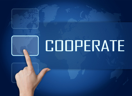 cooperate: Cooperate concept with interface and world map on blue background
