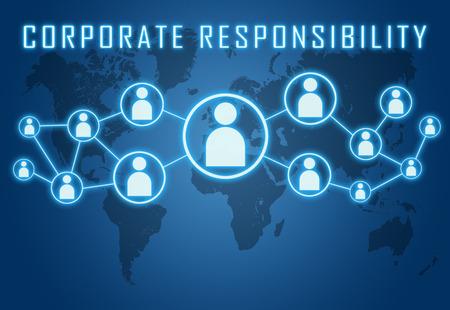 파란색 배경 세계지도 및 사회적 아이콘에 기업의 책임 개념.