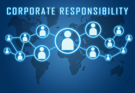 Corporate Responsibility concept on blue background with world map and social icons.