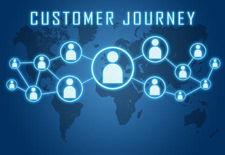 世界地図と社会的なアイコンで青い背景に顧客の旅のコンセプトです。