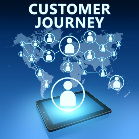 파란색 배경에 태블릿 컴퓨터와 고객 여정 그림