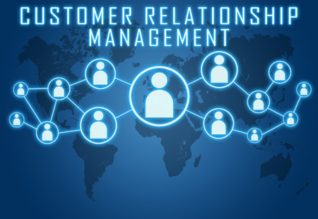professional relationship: Customer Relationship Management concept on blue background with world map and social icons.