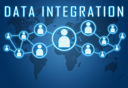 Data Integration concept on blue background with world map and social icons. photo