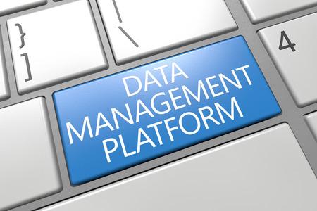 unify: Data Management Platform - keyboard 3d render illustration with word on blue key Stock Photo