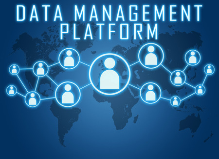 unify: Data Management Platform concept on blue background with world map and social icons.
