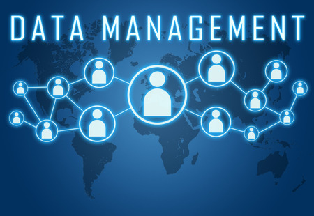 Data Management concept on blue background with world map and social icons. photo