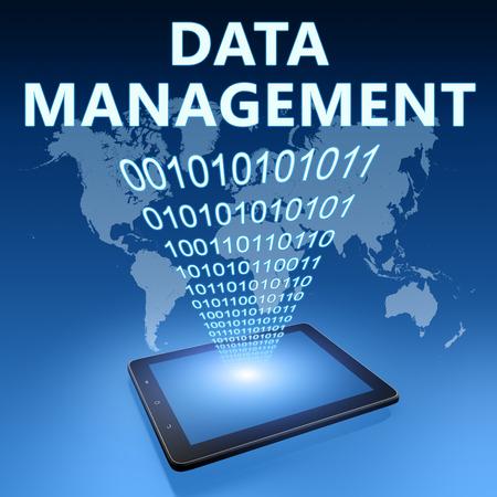 Data Management illustration with tablet computer on blue background illustration