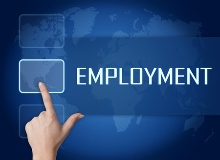 Employment concept with interface and world map on blue background photo