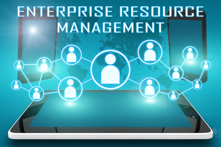 Enterprise Resource Management - text illustration with social icons and tablet computer and mobile cellphones on cyan digital world map background