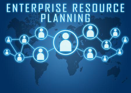 세계지도 및 사회적 아이콘으로 파란색 배경에 Enterprise 자원 계획 개념. 스톡 콘텐츠
