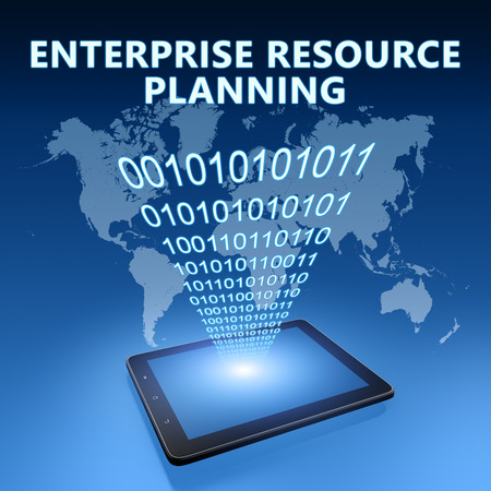 Enterprise Resource Planning illustration with tablet computer on blue background illustration