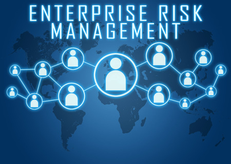 Enterprise Risk Management concept on blue background with world map and social icons.