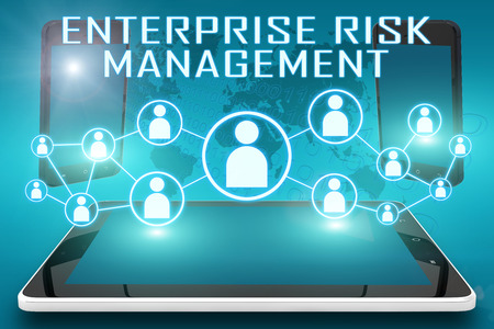 Enterprise Risk Management - text illustration with social icons and tablet computer and mobile cellphones on cyan digital world map background Stock Photo