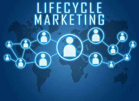 Lifecycle Marketing concept on blue background with world map and social icons. photo