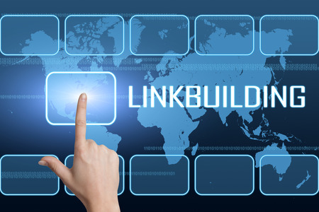 linkbuilding: Linkbuilding concept with interface and world map on blue background