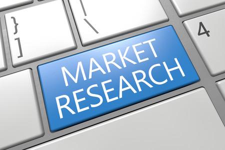 developmental: Market Research - keyboard 3d render illustration with word on blue key Stock Photo