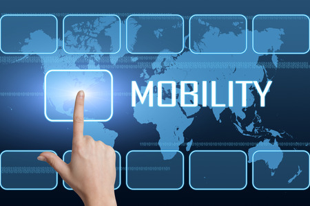 mobility: Mobility concept with interface and world map on blue background Stock Photo