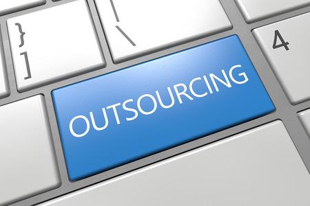 Outsourcing - keyboard 3d render illustration with word on blue key illustration