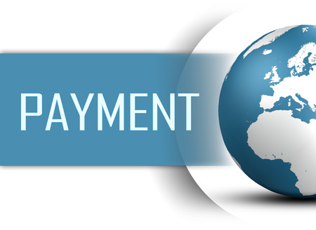 Payment concept with globe on white background photo