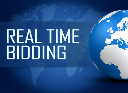 bidding: Real Time Bidding concept with globe on blue background Stock Photo