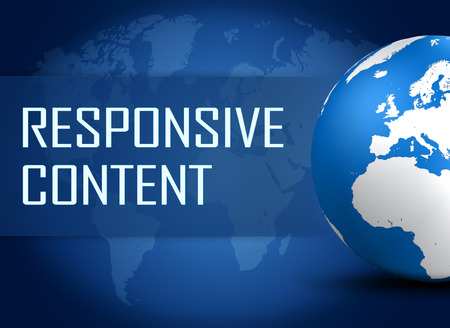 Responsive Content concept with globe on blue background photo