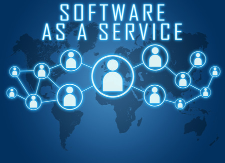Software as a Service concept on blue background with world map and social icons.