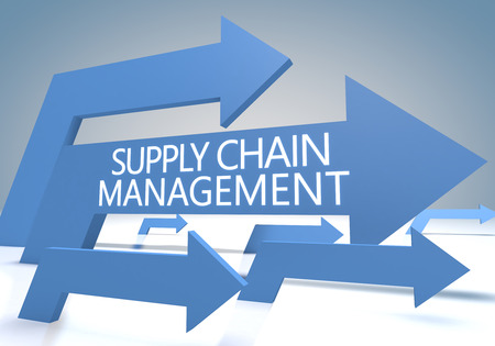 Supply Chain Management 3d render concept with blue arrows on a bluegrey background. photo