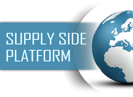 Supply Side Platform concept with globe on white background photo