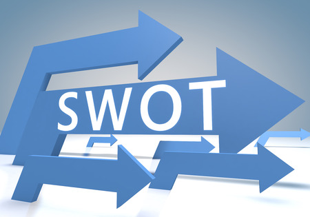 SWOT for strengths, weaknesses, opportunities and threats  3d render concept with blue arrows on a bluegrey background.