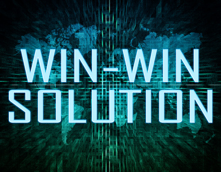 Win-Win Solution text concept on green digital world map background  photo
