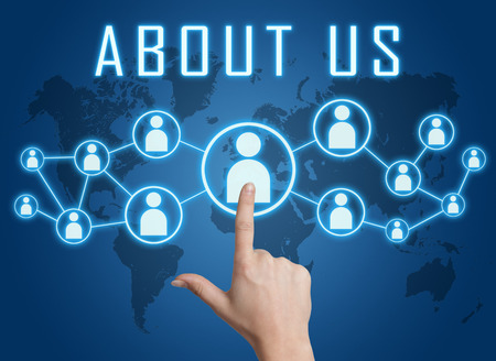 about us: About us concept with hand pressing social icons on blue world map background. Stock Photo