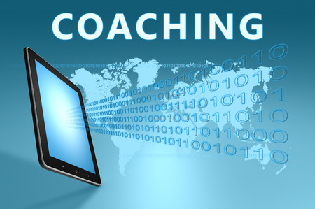 knowlage: Coaching illustration with tablet computer on blue background