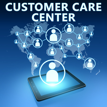Customer Care Center illustration with tablet computer on blue background illustration
