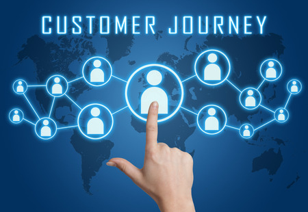 Customer Journey concept with hand pressing social icons on blue world map background.