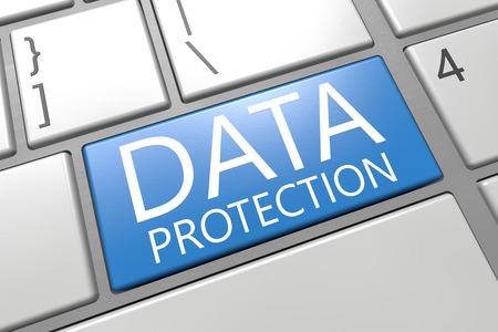 Data Protection - keyboard 3d render illustration with word on blue key illustration