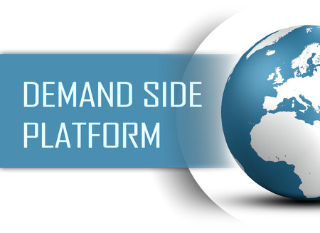 online bidding: Demand Side Platform concept with globe on white background
