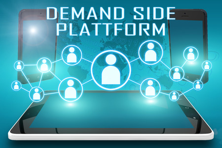 Demand Side Platform - text illustration with social icons and tablet computer and mobile cellphones on cyan digital world map background illustration