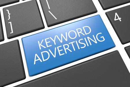 Keyword Advertising - keyboard 3d render illustration with word on blue key
