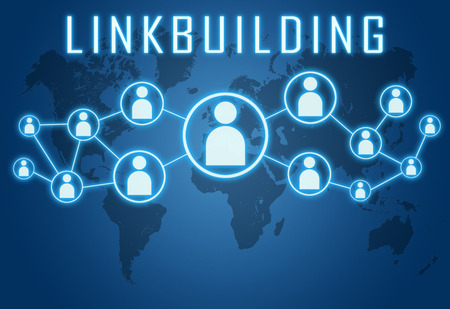 linkbuilding: Linkbuilding concept on blue background with world map and social icons.