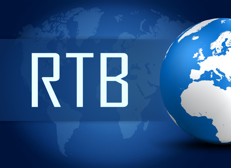 bidding: RTB - Real Time Bidding concept with globe on blue background