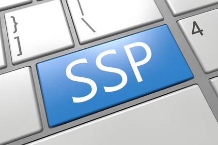 online bidding: SSP - Supply Side Platform - keyboard 3d render illustration with word on blue key Stock Photo