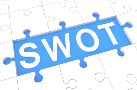 SWOT - Strengths, weaknesses, opportunities, and threats - puzzle 3d render illustration with word on blue background