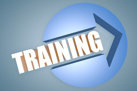 knowlage: Training - text 3d render illustration concept with a arrow in a circle on blue-grey background Stock Photo